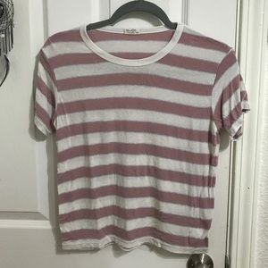 Pink, Blue and White Striped Brandy T-Shirt